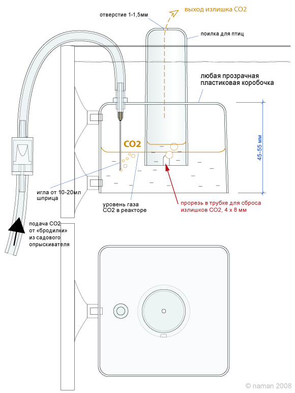 Подача со2 в аквариум схема